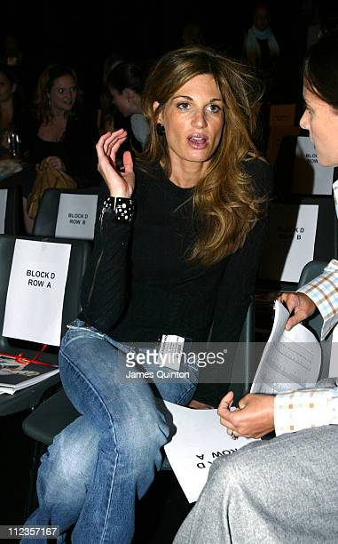 Jemima Khan during London Fashion Week Spring/Summer 2006 Betty Jackson Front Row at Natural History Museum in London Great Britain