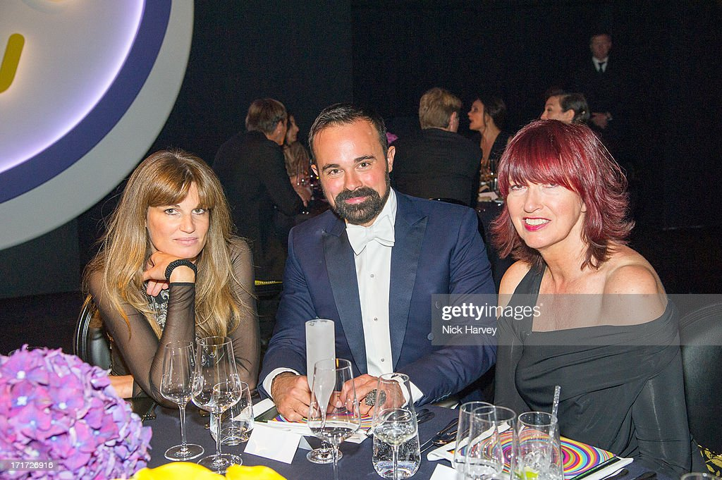 Jemima Khan, Evgeny Lebedev and Janet Street Porter attend the 15th Annual White Tie and Tiara Ball to Benefit Elton John AIDS Foundation in Association with Chopard at Woodside on June 27, 2013 in Windsor, England. No sales to online/digital media worldwide until the 14th of July. No sales before July 14th, 2013 in UK, Spain, Switzerland, Mexico, Dubai, Russia, Serbia, Bulgaria, Turkey, Argentina, Chile, Peru, Ecuador, Colombia, Venezuela, Puerto Rico, Dominican Republic, Greece, Canada, Thailand, Indonesia, Morocco, Malaysia, India, Pakistan, Nigeria. All pictures are for editorial use only and mention of 'Chopard' and 'The Elton John Aids Foundation' are compulsory. No sales ever to Ok, Now, Closer, Reveal, Heat, Look or Grazia magazines in the United Kingdom. No sales ever to any jewellers or watchmakers other than Chopard.