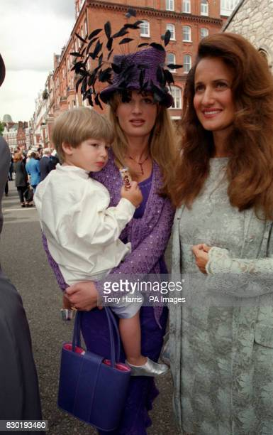 Jemima Khan with her son Sulaiman and her sister Isobella after the wedding of their brother Zac Goldsmith to Sheherazade Ventura at St Simon the...