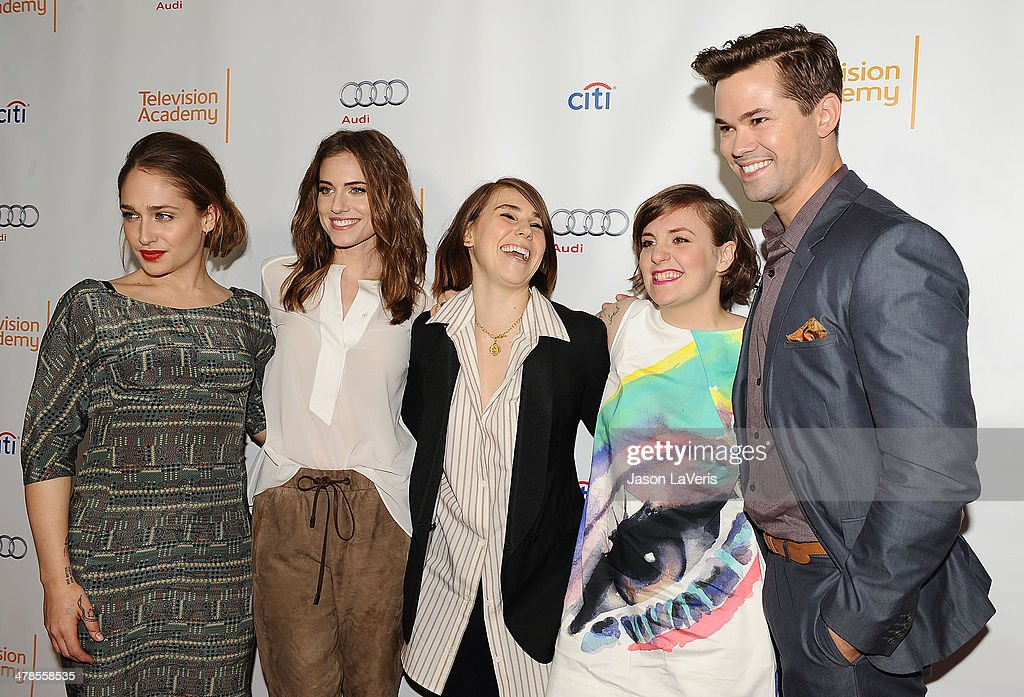 <a gi-track='captionPersonalityLinkClicked' href=/galleries/search?phrase=Jemima+Kirke&family=editorial&specificpeople=7327464 ng-click='$event.stopPropagation()'>Jemima Kirke</a>, Allison Williams, <a gi-track='captionPersonalityLinkClicked' href=/galleries/search?phrase=Zosia+Mamet&family=editorial&specificpeople=7439328 ng-click='$event.stopPropagation()'>Zosia Mamet</a>, <a gi-track='captionPersonalityLinkClicked' href=/galleries/search?phrase=Lena+Dunham&family=editorial&specificpeople=5836535 ng-click='$event.stopPropagation()'>Lena Dunham</a> and <a gi-track='captionPersonalityLinkClicked' href=/galleries/search?phrase=Andrew+Rannells&family=editorial&specificpeople=2471329 ng-click='$event.stopPropagation()'>Andrew Rannells</a> attend an evening with 'Girls' at Leonard H. Goldenson Theatre on March 13, 2014 in North Hollywood, California.