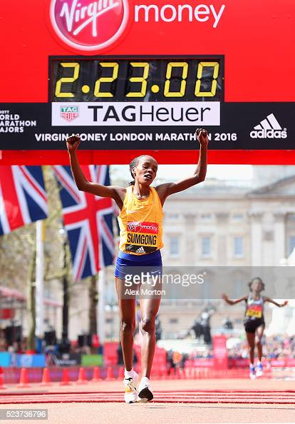 Jemima Sumgong of Kenys wins the Elite womens race during the Virgin Money Giving London Marathon at the finish on The Mall on April 24 2016 in...