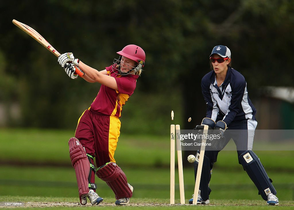 Jemma Barsby of the Fire is bowled out during the WNCL match between the Victoria Spirit and the Queensland Fire at Harry trott Oval on October 29...