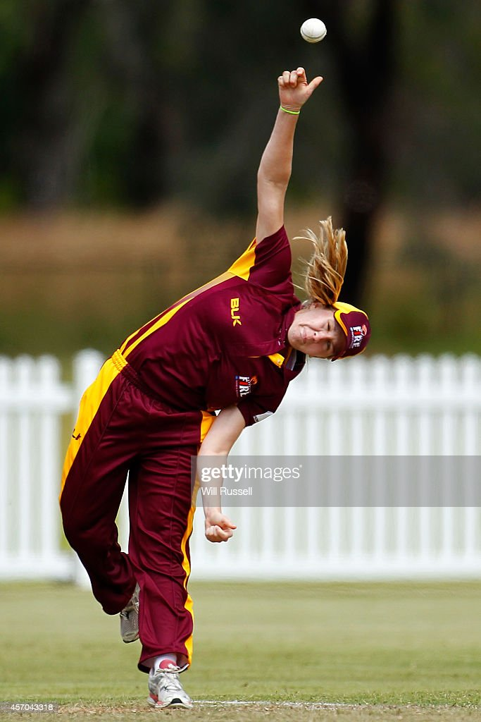 Jemma Barsby of The Queensland Fire bowls during the WNCL match between Western Australia and Queensland at Murdoch University on October 11 2014 in...