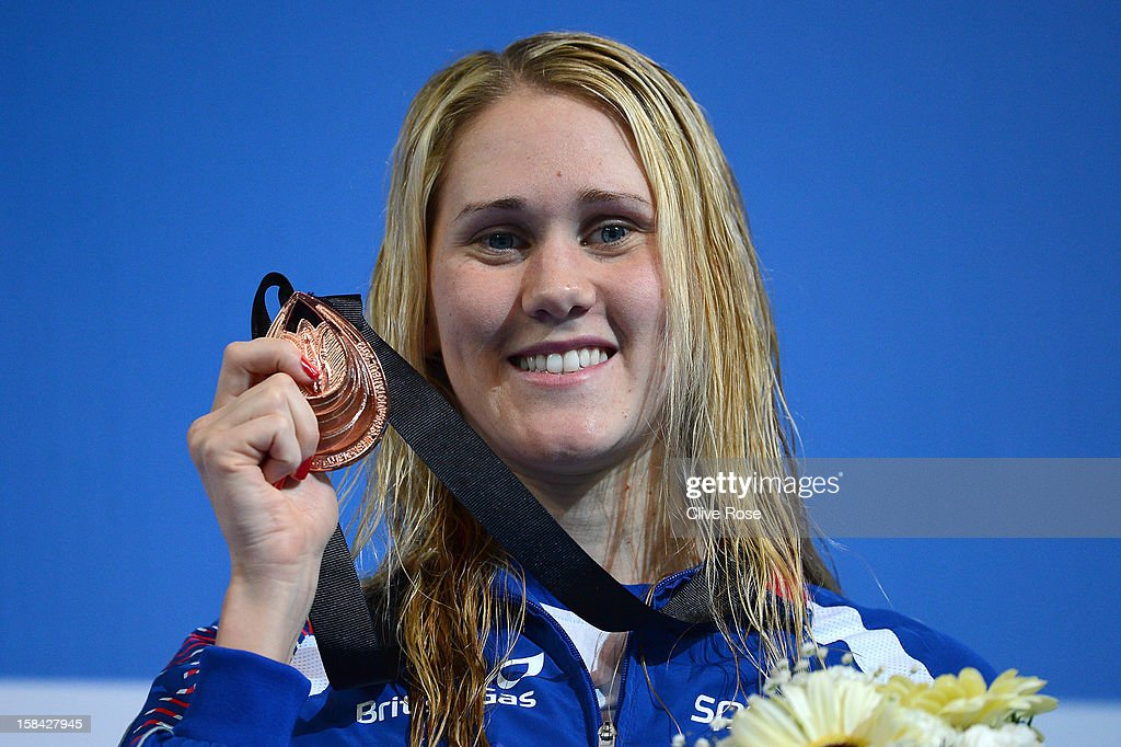 Jemma Lowe of Great Britain poses with her Bronze medal after coming third in the Women's 100m Butterfly Final during day five of the 11th FINA Short Course World Championships at the Sinan Erdem Dome on December 16, 2012 in Istanbul, Turkey.