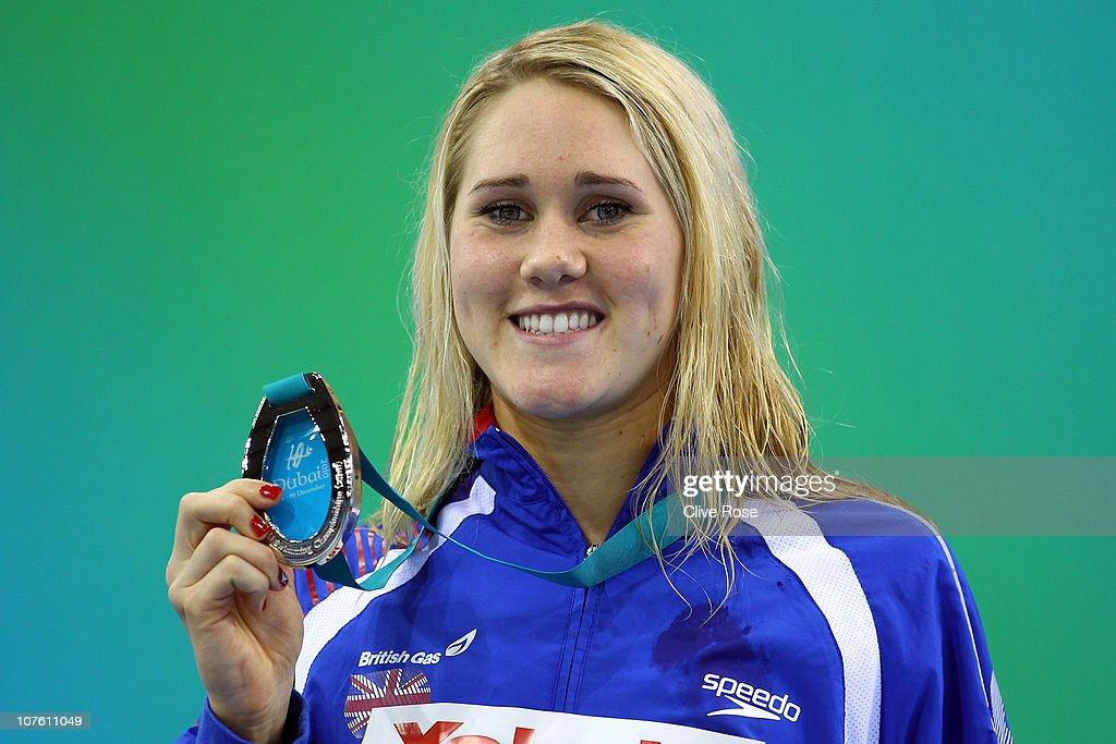 Jemma Lowe of Great Britain poses with her Silver Medal after coming second in the Women's 200m Butterfly final on day one of the 10th FINA World Swimming Championships (25m) at the Hamdan bin Mohammed bin Rashid Sports Complex on December 15, 2010 in Dubai, United Arab Emirates.