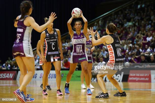 Jemma Mimi of the Firebirds passes during the round two Super Netball match between the Queensland Firebirds and the Collingwood Magpies at Brisbane...
