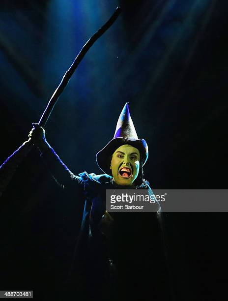 Jemma Rix as Elphaba performs during a 'WICKED' production media call at the Regent Theatre on May 8 2014 in Melbourne Australia The 10th Anniversary...