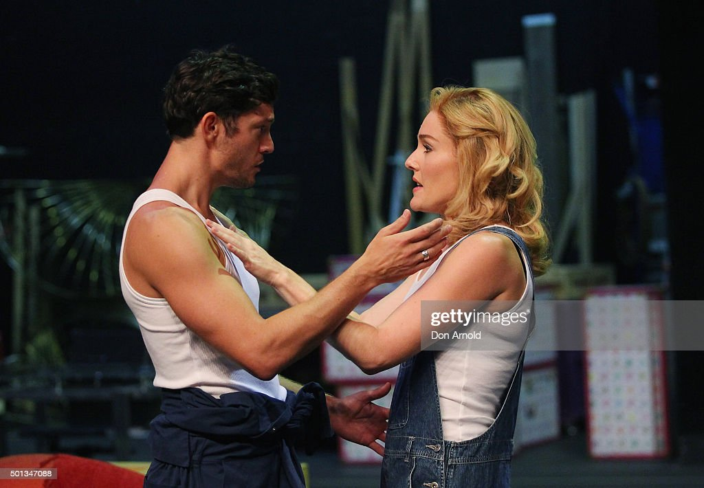Jemma Rix plays the role of 'Molly Jensen' and Rob Mills the role of 'Sam Wheat' during rehearsals for 'Ghost the Musical' at Theatre Royal on...