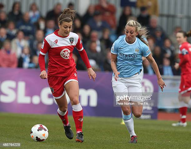 Jemma Rose of Bristol Academy Women looks to control the ball watched by Toni Duggan of Manchester City Women during the FA WSL 1 match between...