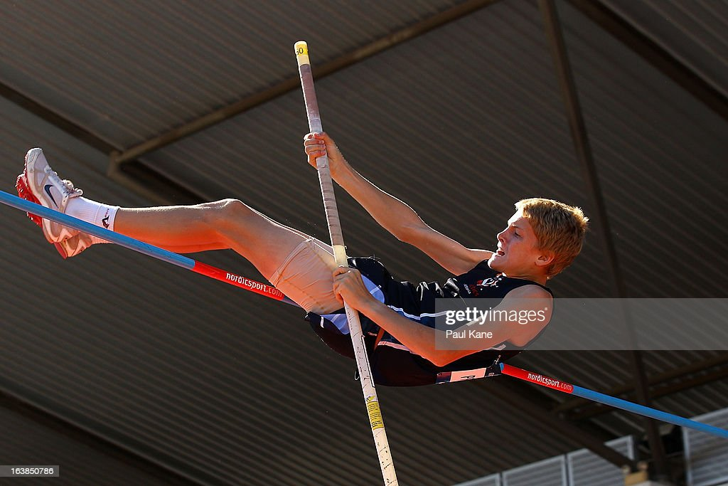 Jemuel Pryse of Victoria competes in the mens u15 pole vault during day six of the Australian Junior Championships at the WA Athletics Stadium on March 17, 2013 in Perth, Australia.