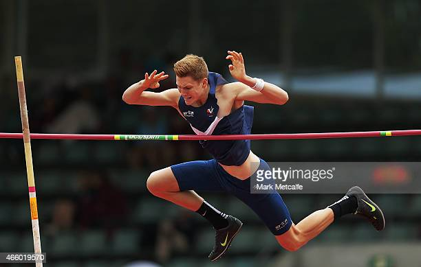Jemuel Pryse of Victoria competes in the mens U18 pole vault event during the Australian Junior Athletics Championships at Sydney Olympic Park on...