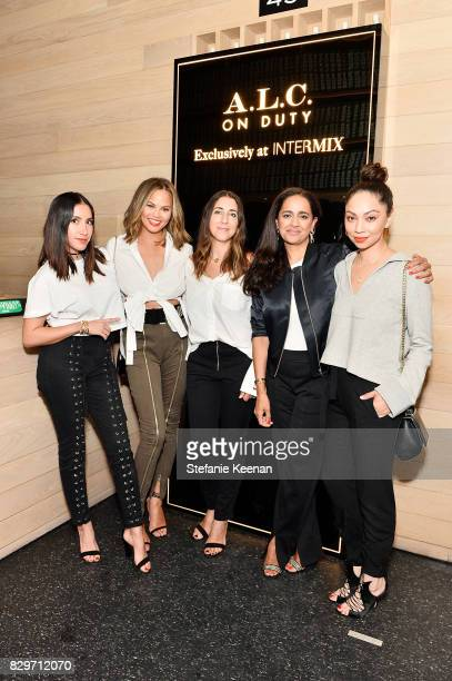 Jen Aitkin Chrissy Teigen Andrea Lieberman Jyothi Rao and Monica Rose attend INTERMIX x ALC 'On Duty' Launch Dinner with Chrissy Teigen at Jon and...