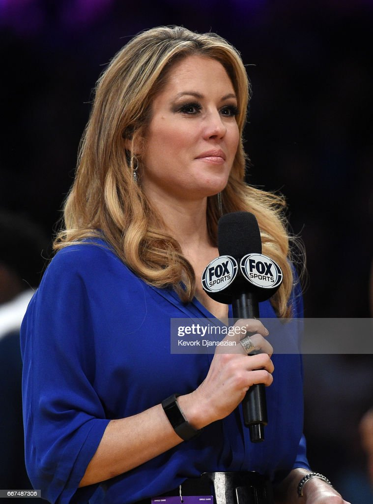 Jen Hale, New Orleans Pelicans sideline reporter on FOX Sports New Orleans broadcast, does a stand up during a timeout in the second half of the basketball game between New Orleans Pelicans and Los Angeles Lakers at Staples Center April 11, 2017, in Los Angeles, California.