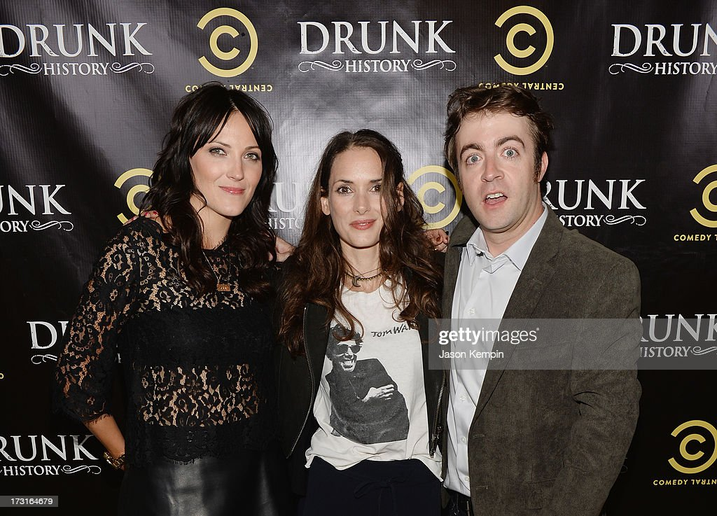 Jen Kirkman, <a gi-track='captionPersonalityLinkClicked' href=/galleries/search?phrase=Winona+Ryder&family=editorial&specificpeople=203145 ng-click='$event.stopPropagation()'>Winona Ryder</a> and Derek Waters attend Comedy Central's 'Drunk History' Premiere Party at The Wilshire Ebell Theatre on July 8, 2013 in Los Angeles, California.