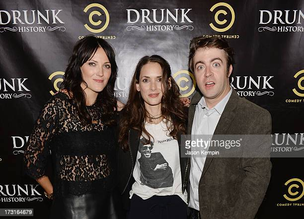 Jen Kirkman Winona Ryder and Derek Waters attend Comedy Central's 'Drunk History' Premiere Party at The Wilshire Ebell Theatre on July 8 2013 in Los...