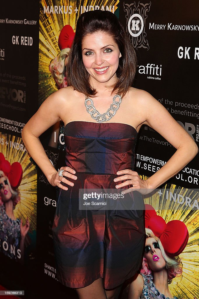 Jen Lilley arrives at Markus + Indrani Icons book launch party hosted by Carmen Electra benefiting The Trevor Project at Merry Karnowsky Gallery & Graffiti on January 10, 2013 in Los Angeles, California.
