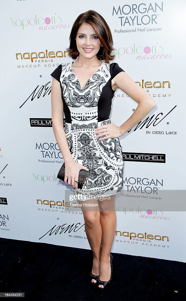 Jen Lilley attends the Greg Lavoi spring 2014 runway presentation at Kyoto Gardens on October 13, 2013 in Los Angeles, California.