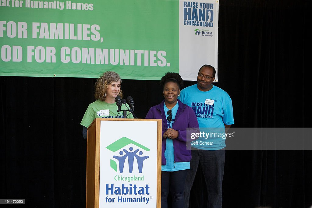 Jen Parks, Executive Director Windy City Habitat for Humanity, and Partner Family Natasha & Shomari Nicoles help kick off Habitat for Humanity's 'Raise Your Hand Chicagoland,' an unprecedented building blitz in the heart of downtown Chicago. From May 29 through June 1 at Pioneer Court Plaza, volunteers will come together with partner families to complete the initial construction of 13 homes. Immediately following, these new homes will be taken into communities across the region, where they will be finished and become a place 13 families can call their own. Those across the area are invited to attend 'Raise Your Hand Chicagoland' to tour a Habitat home, participate in family-friendly activities and learn more about Habitat for Humanity in Chicagoland, including future volunteer opportunities. Chicagoans can also show their support virtually using #RYHC and following Habitat for Humanity on Facebook, Twitter and Instagram (@ChicagoHabitat). For more information, visit chicagolandhabitat.org/RYHC.