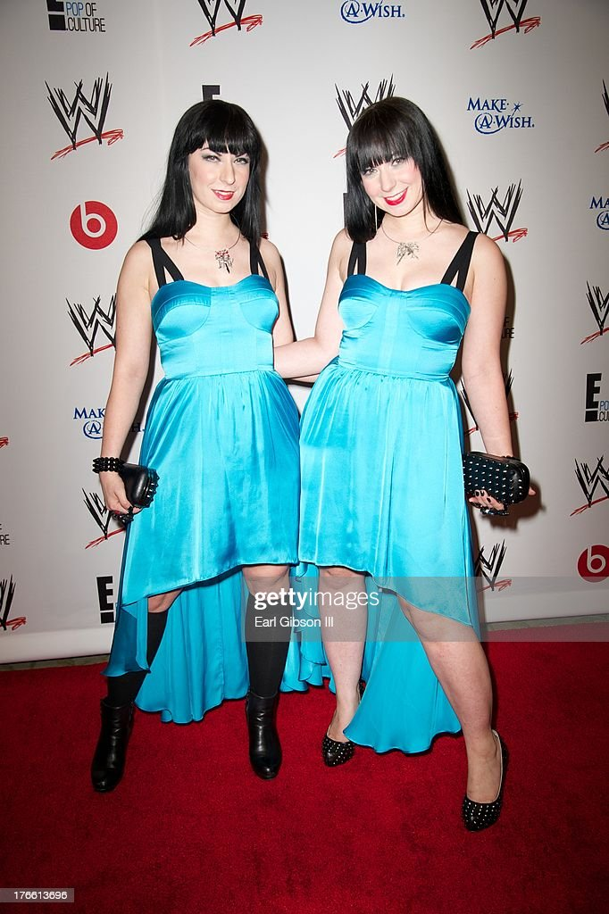 Jen Soska and Sylvia Soska attend the WWE SummerSlam VIP Party at Beverly Hills Hotel on August 15, 2013 in Beverly Hills, California.