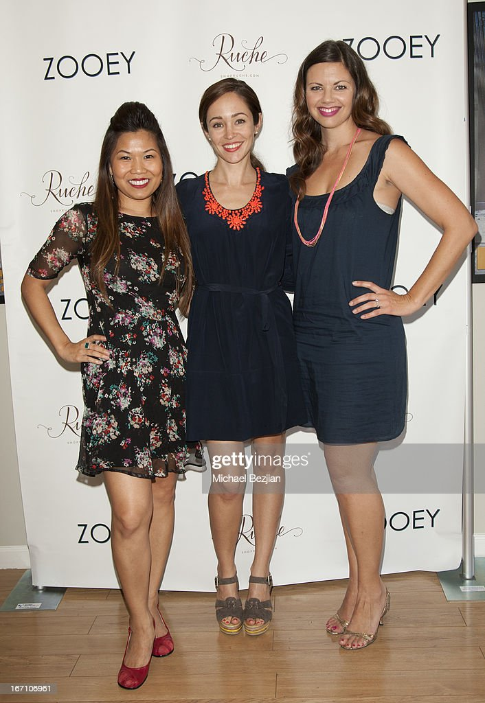 Jen Wong, <a gi-track='captionPersonalityLinkClicked' href=/galleries/search?phrase=Autumn+Reeser&family=editorial&specificpeople=630259 ng-click='$event.stopPropagation()'>Autumn Reeser</a> and Ashley Fauset attends Zooey Magazine And A Beautiful Mess Present...Crafts & Cocktails Launch Party at Seychelles Shoes' Showroom on April 20, 2013 in El Segundo, California.