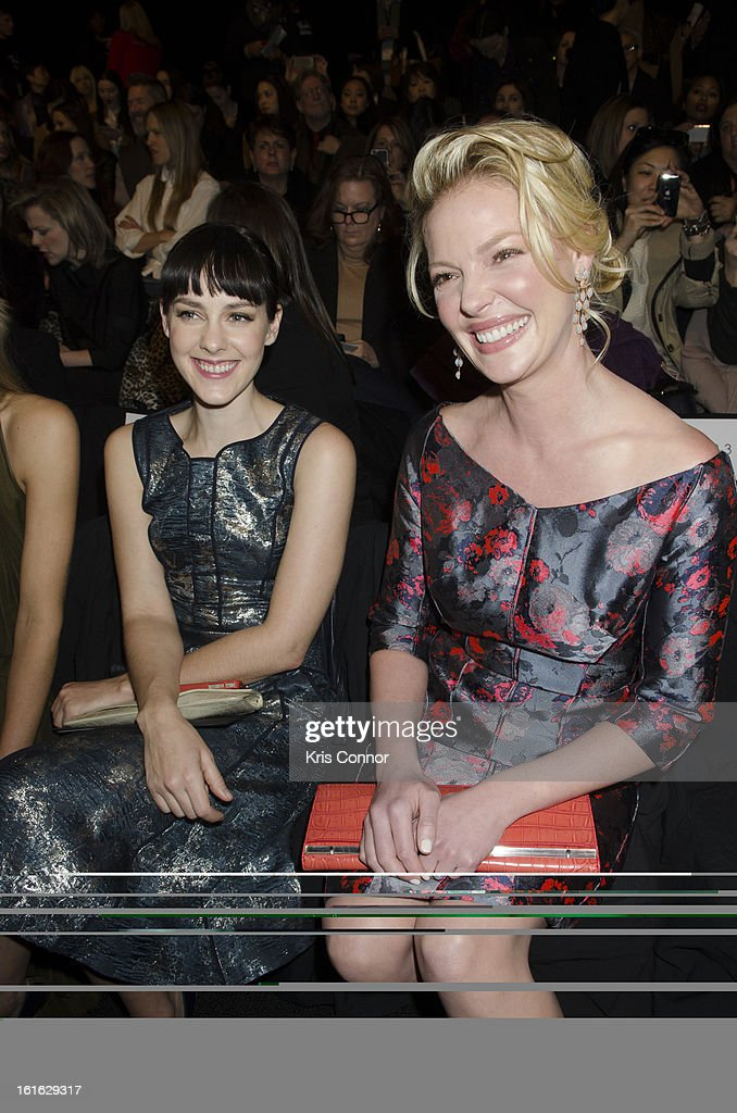 <a gi-track='captionPersonalityLinkClicked' href=/galleries/search?phrase=Jena+Malone&family=editorial&specificpeople=216548 ng-click='$event.stopPropagation()'>Jena Malone</a> and <a gi-track='captionPersonalityLinkClicked' href=/galleries/search?phrase=Katherine+Heigl&family=editorial&specificpeople=206952 ng-click='$event.stopPropagation()'>Katherine Heigl</a> pose during the J. Mendel Fall 2013 Mercedes-Benz Fashion Show at The Theater at Lincoln Center on February 13, 2013 in New York City.