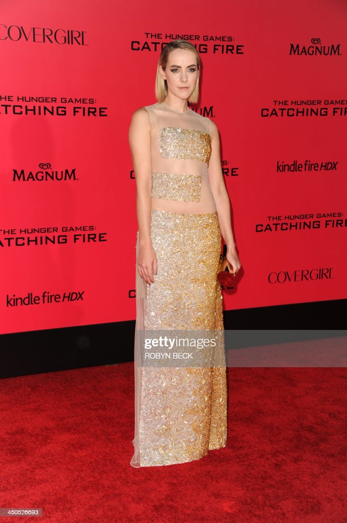 Jena Malone arrives for the Los Angeles premiere of 'The Hunger Games: Catching Fire,' at the Nokia Theatre LA Live in Los Angeles, California, November 18, 2013. AFP PHOTO / Robyn Beck
