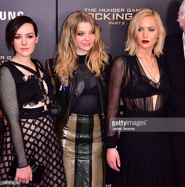 Jena Malone Natalie Dormer and Jennifer Lawrence attend the 'The Hunger Games Mockingjay Part 2' New York premiere at AMC Loews Lincoln Square 13...