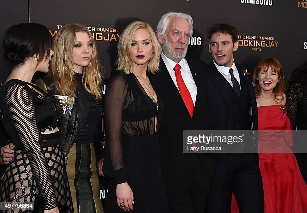 Jena Malone Natalie Dormer Jennifer Lawrence Donald Sutherland Sam Claflin and Stef Dawson attend 'The Hunger Games Mockingjay Part 2' New York...
