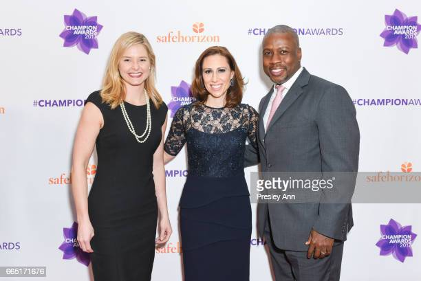 Jeneia Mullins Sam Saperstein and Eyrique Miller attend the Safe Horizons Champion Awards at Pier Sixty at Chelsea Piers on April 5 2017 in New York...