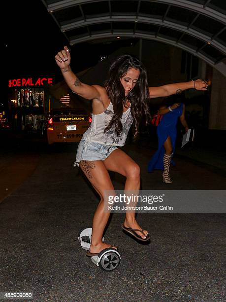 Jenelle Evans is seen riding on hover board on August 29 2015 in Los Angeles California