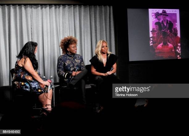 Jenelle Riley Dee Rees and Mary J Blige attend SAGAFTRA Foundation's conversations and screening of 'Mudbound' at SAGAFTRA Foundation Screening Room...