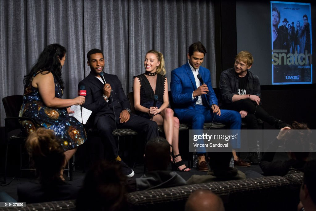 Jenelle Riley of Variety and Actors Lucien Laviscount, Phoebe Dynevor, Luke Pasqualino and Rupert Grint attend SAG-AFTRA Foundation's Conversations with 'Snatch' at SAG-AFTRA Foundation Screening Room on March 7, 2017 in Los Angeles, California.