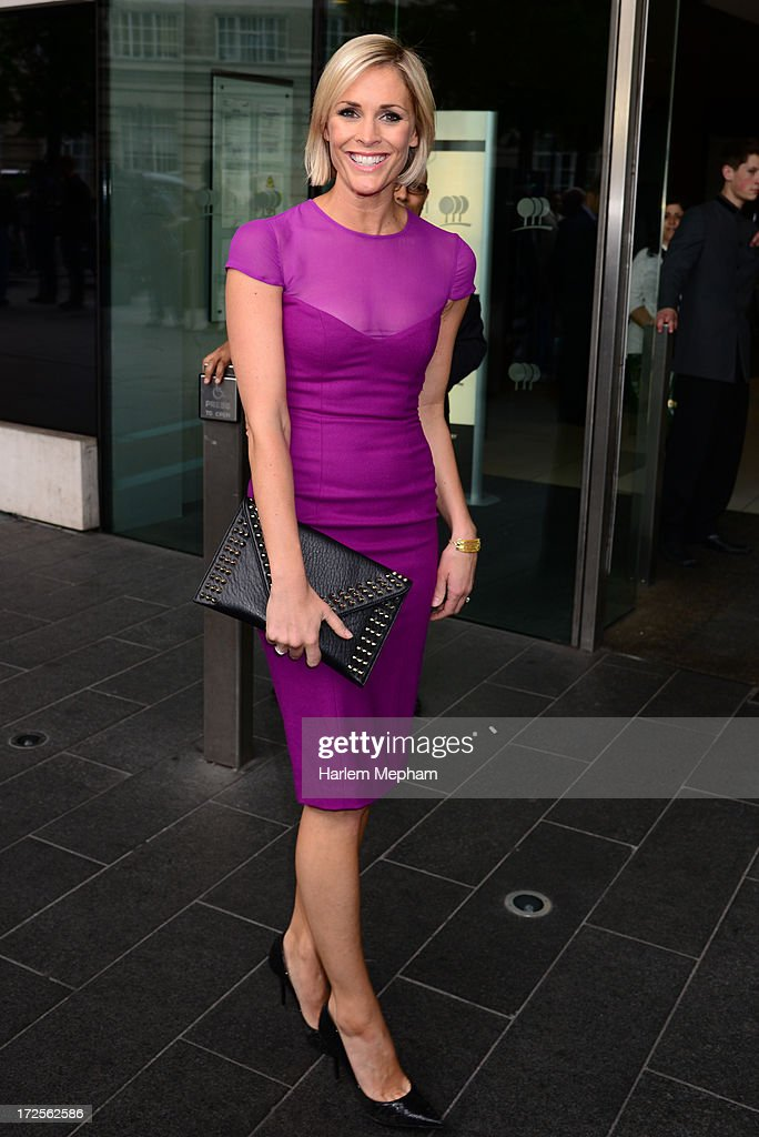 Jeni Falconer sighted outside the Plaza Hotel on July 3, 2013 in London, England.