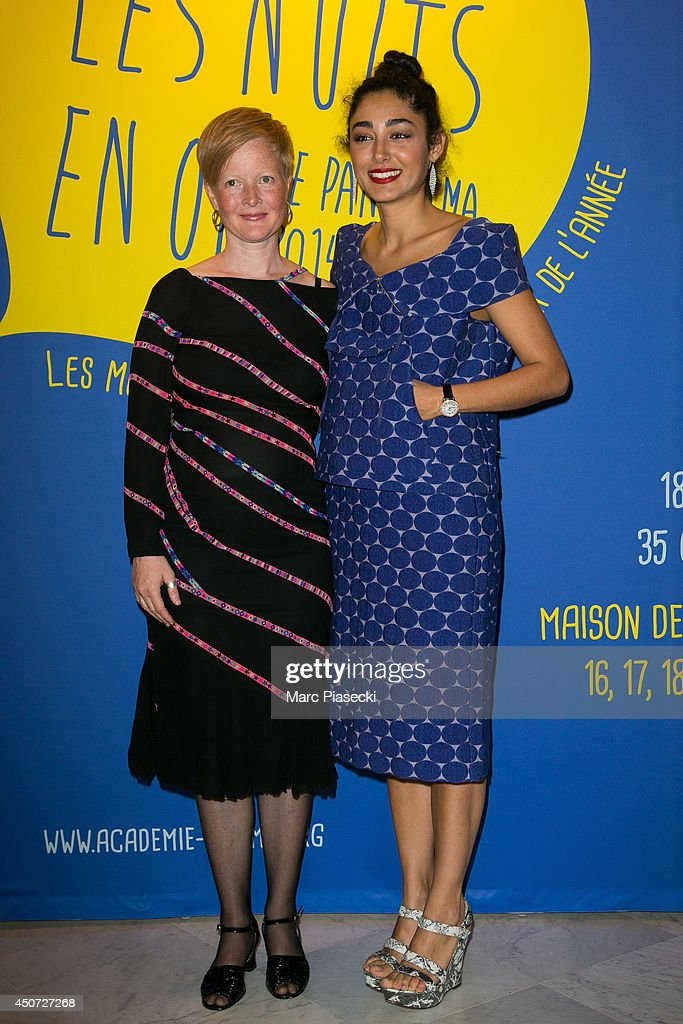 Jenifer Malmqvist and <a gi-track='captionPersonalityLinkClicked' href=/galleries/search?phrase=Golshifteh+Farahani&family=editorial&specificpeople=5535488 ng-click='$event.stopPropagation()'>Golshifteh Farahani</a> attend the 'Panorama des Nuits en or' gala dinner UNESCO on June 16, 2014 in Paris, France.