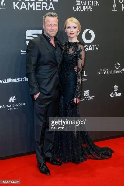 Jenke von Wilmsdorff and his wife Mia von Wilmsdorff arrive for the Goldene Kamera on March 4 2017 in Hamburg Germany
