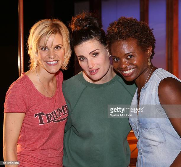 Jenn Colella Idina Menzel and LaChanze and the ensemble cast attend the 'If/Then' 100th performance celebration backstage at the Richard Rodgers...