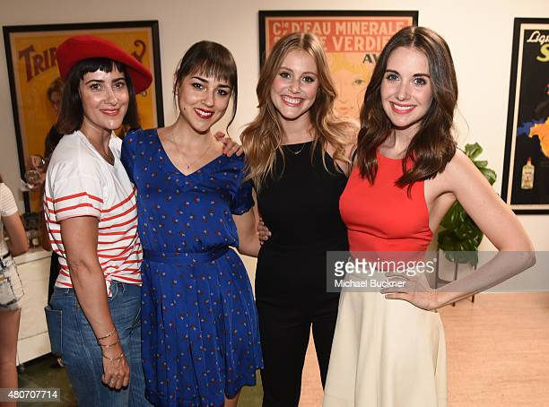 Jenn Streicher actresses Cyrina Fiallo Julianna Guill and Alison Brie attend a celebration with STRIIIKE and Caudalie for 'The French Beauty...