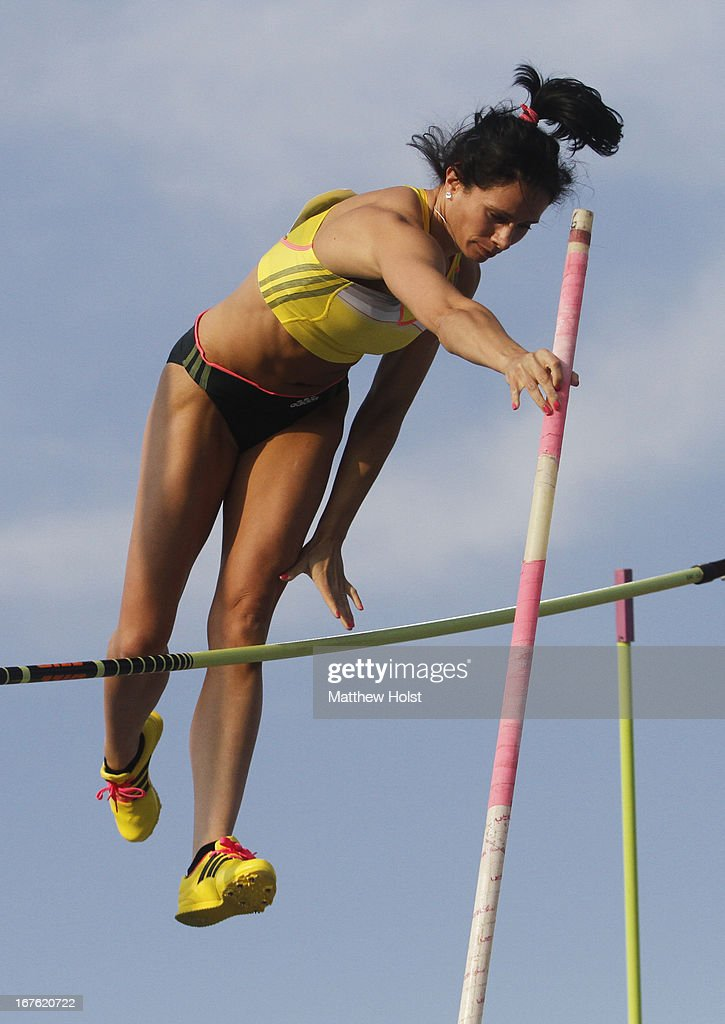 Jenn Suhr, of the United States, competes in the Women's Pole Vault London Games Rematch at the Drake Relays, on April 26, 2013 at Drake Stadium, in Des Moines, Iowa.