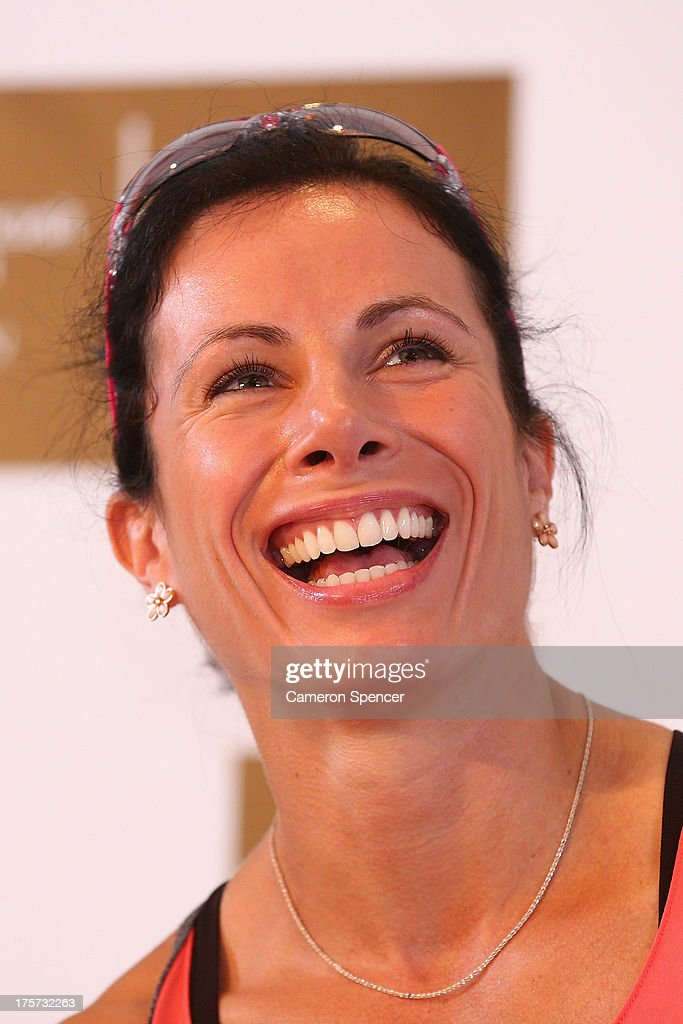 <a gi-track='captionPersonalityLinkClicked' href=/galleries/search?phrase=Jenn+Suhr&family=editorial&specificpeople=8082720 ng-click='$event.stopPropagation()'>Jenn Suhr</a> of the United States laughs during an Adidas press conference at the Grand Marriott Hotel ahead of the 14th IAAF World Athletics Championships on August 7, 2013 in Moscow, Russia.