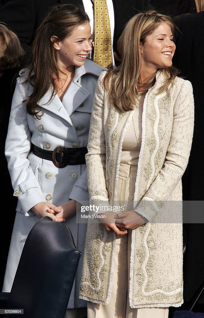 Jenna Bush (R) and Barbara Bush smile as they are seated on the inaugural stage January 20, 2005 in Washington, D.C. U.S. President George W. Bush will be sworn in for a second term during the inaugural ceremony.