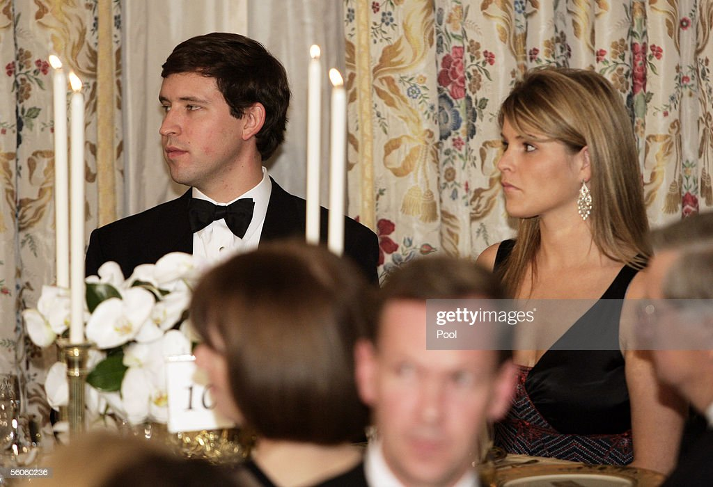 Jenna Bush, daughter of U.S. President George W. Bush, attends a dinner held for Prince Charles and his wife Camilla of the United Kingdom at the White House with her guest Henry Hager (L) House November 2, 2005 in Washington, DC. The prince and the Duchess of Cornwall are on a week-long visit in the United States.
