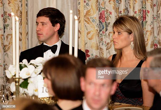 Jenna Bush daughter of US President George W Bush attends a dinner held for Prince Charles and his wife Camilla of the United Kingdom at the White...