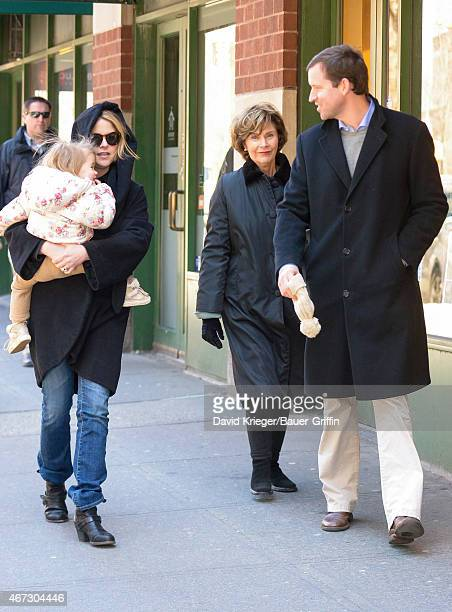 Jenna Bush Hager daughter Mila Hager Laura Bush and Henry Hager are seen in New York City on March 22 2015 in New York City