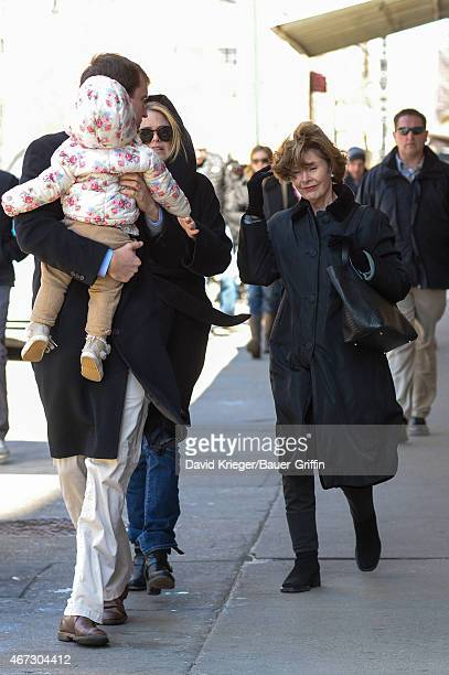 Jenna Bush Hager daughter Mila Hager with Henry Hager and Laura Bush are seen in New York City on March 22 2015 in New York City