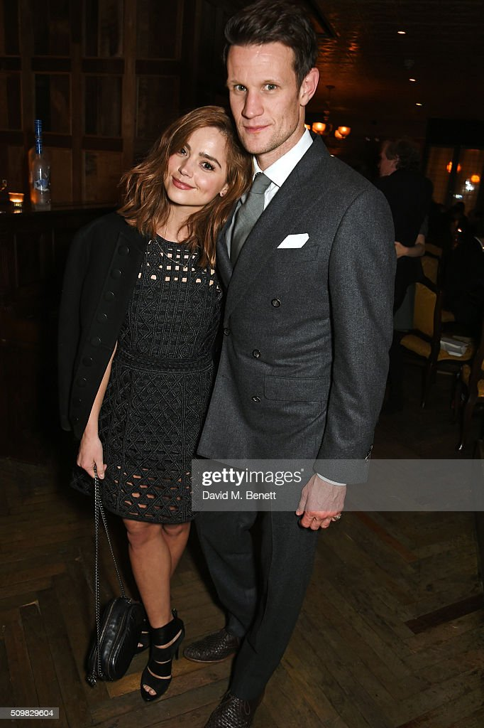 Jenna Coleman (L) and Matt Smith attend Harvey Weinstein's pre-BAFTA dinner in partnership with Burberry and GREY GOOSE at Little House Mayfair on February 12, 2016 in London, England.