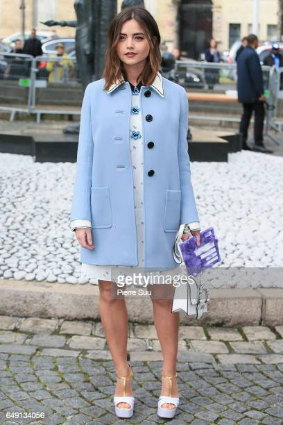 Jenna Coleman arrives at the Miu Miu show as part of the Paris Fashion Week Womenswear Fall/Winter 2017/2018 on March 7 2017 in Paris France