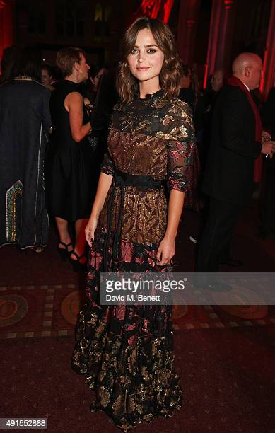 Jenna Coleman attends a cocktail reception at the BFI Luminous Fundraising Gala in partnership with IWC and crystals by Swarovski at The Guildhall on...