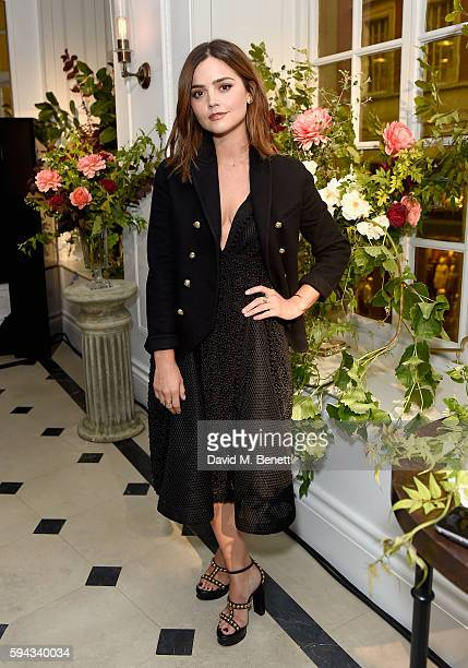 Jenna Coleman attends an event hosted by Lily James to celebrate the launch of My Burberry Black at Burberry's all day cafe Thomas's on August 22...