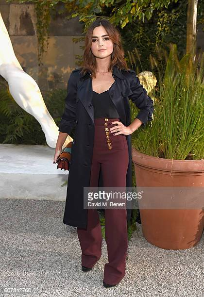 Jenna Coleman wearing Burberry at the Burberry September 2016 show during London Fashion Week SS17 at Makers House on September 19 2016 in London...