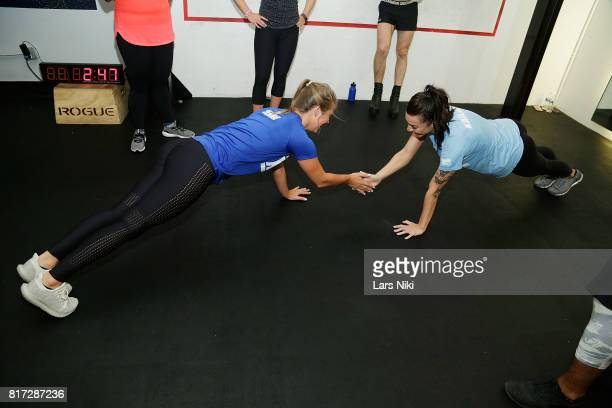 Jenna Compono and Kailah Casillas train during The Challenge XXX Ultimate Fan Experience at Exceed Physical Culture on July 17 2017 in New York City